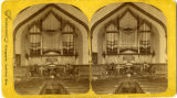 Interior of the Congregational Church in Northfield showing the new pipe organ, installed in 1884.