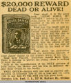 """$20,000 Reward Dead or Alive!"" ad for book by Jesse James Jr."